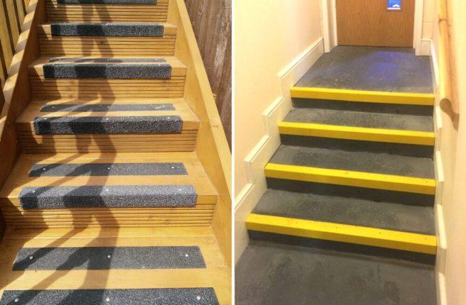 Nez de marche antidérapant jaune sur les marches d'un escalier
